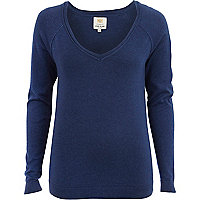 Navy v neck fine knit jumper