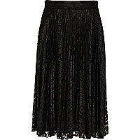 Black lace pleated midi skirt