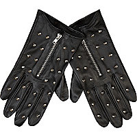 Black stud leather gloves
