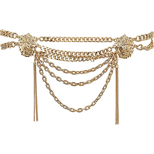 Gold lion head chain waist belt