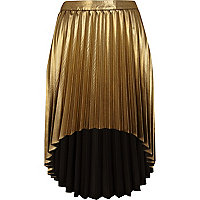 Gold metallic dip hem skirt