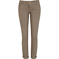 Beige low rise skinny trousers