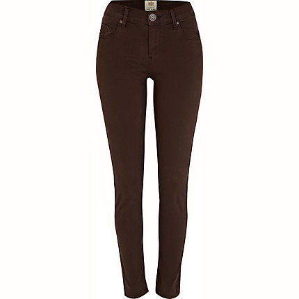 Brown denim Amelie super skinny jeans