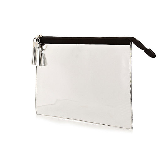 Silver metallic oversized clutch bag