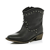 Black studded western boots