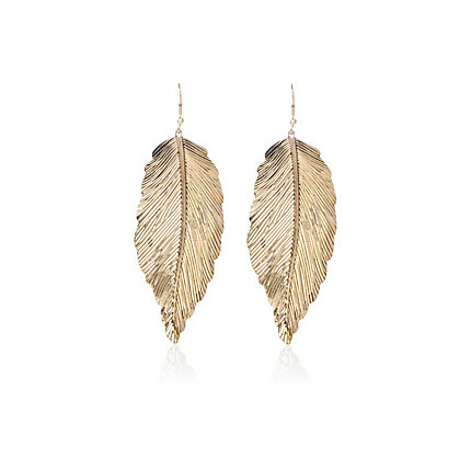 Gold tone leaf drop earrings