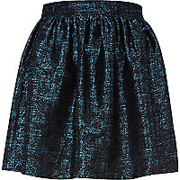 Blue print jacquard mini skirt