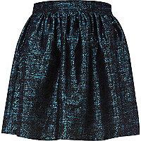Blue print jacquard mini skirt