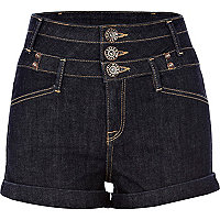 Dark denim  basque high waisted shorts