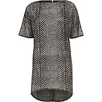 Black snake skin print textured dress
