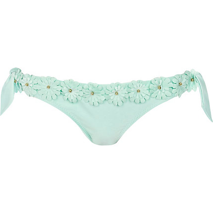 Mint green 3d flower bikini briefs