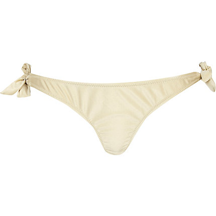 Gold 3d flower bikini briefs