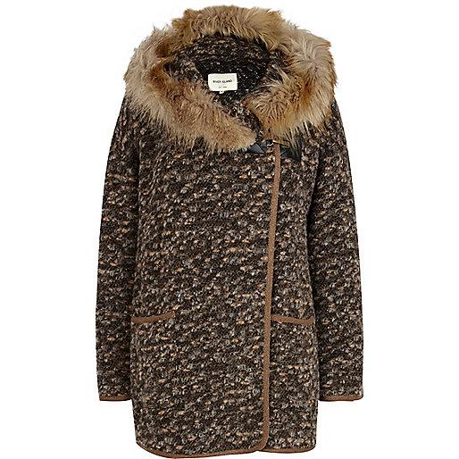 Brown faux fur hooded coatigan