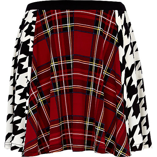 Red plaid and houndstooth print skater skirt