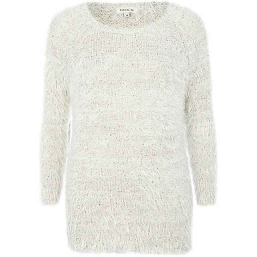 Cream fluffy sequin sweater
