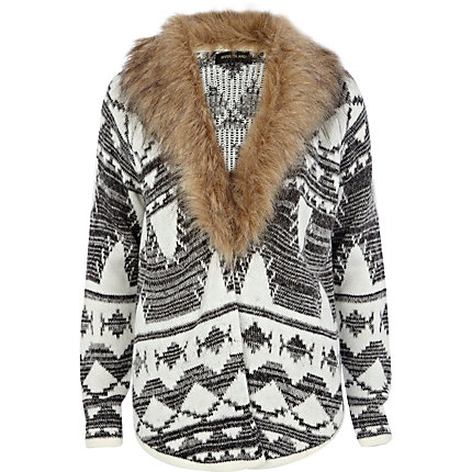 Cream fairisle faux fur collar cardigan