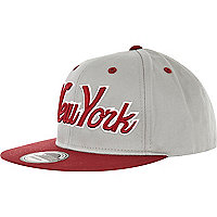 Light grey and red ny snapback trucker hat