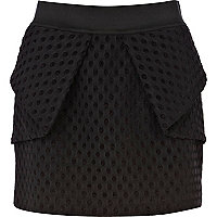 Black polka dot structured mini skirt