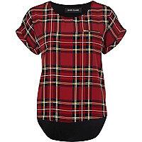 Red tartan print t-shirt