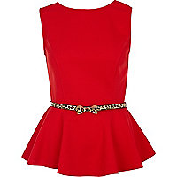 Red peplum top