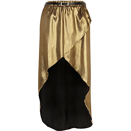 Gold wrap front belted maxi skirt