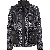 Grey print quilted jacket