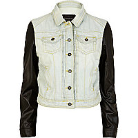 Light wash leather look sleeve denim jacket