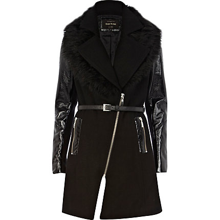 Black high shine sleeve coat