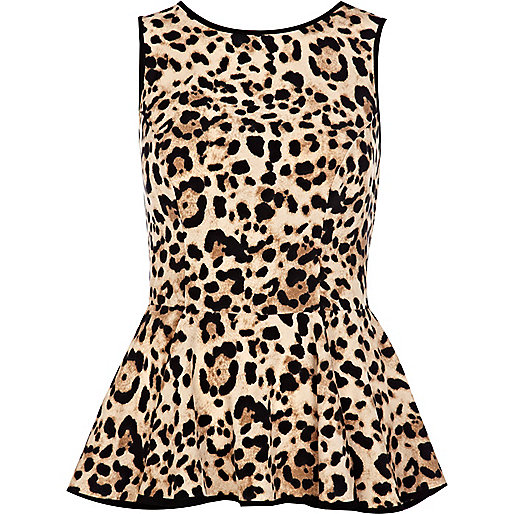 Brown leopard print peplum top