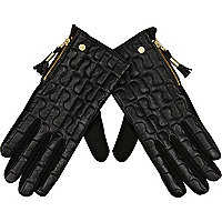 Black RI quilted gloves