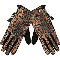 Brown leopard print suede gloves