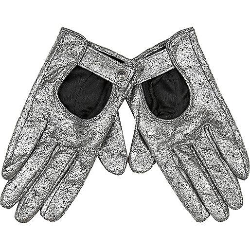 Silver metallic suede gloves
