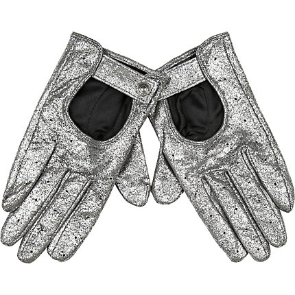 Silver metallic suede gloves