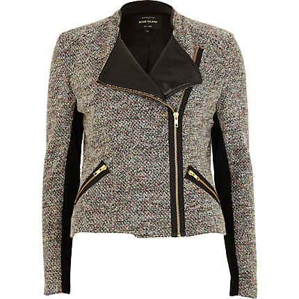 Grey tweed biker jacket