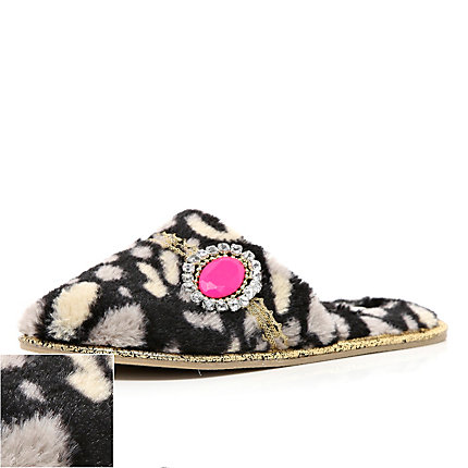 Leopard print jewel mule slippers