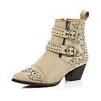 Cream stud buckle boots
