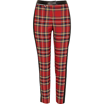 Red tartan PU detail trousers
