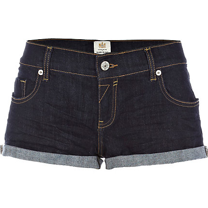 Dark wash denim shorts