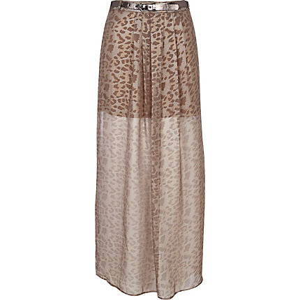 Light beige leopard print belted maxi skirt