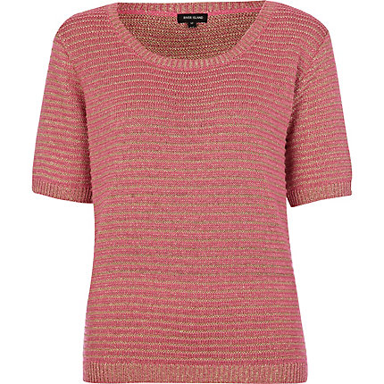 Pink metallic knitted t-shirt