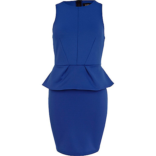 Blue scuba peplum dress