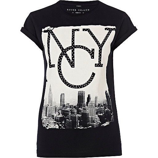 Black studded NYC print t-shirt
