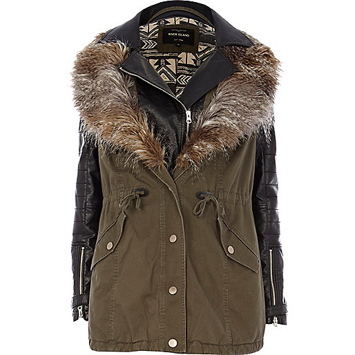 Khaki 2 in 1 leather look parka jacket