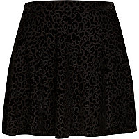 Black animal devore skater skirt
