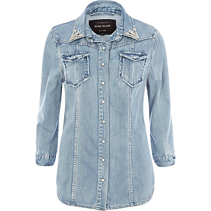 Light wash denim diamante collar outer shirt