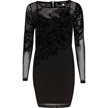 Black flocked mesh bodycon dress