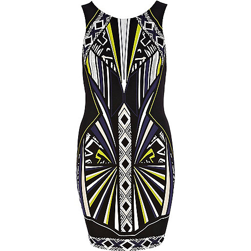 Black futuristic print bodycon dress
