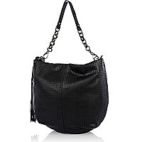 Black lasercut slouch bag