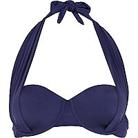 Navy drape push-up halter neck bikini top