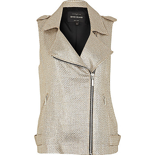 Silver metallic sleeveless biker jacket